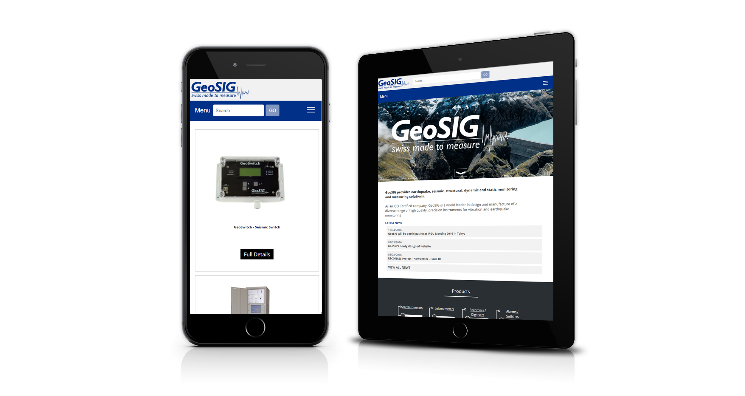 screenshot of Geosig website
